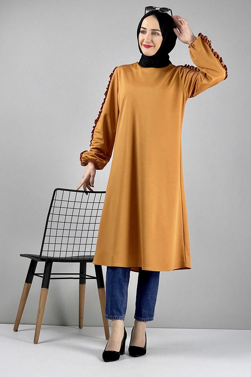 Moda Pinhan - Kol Detaylı Tesettür Tunik Hardal (1)