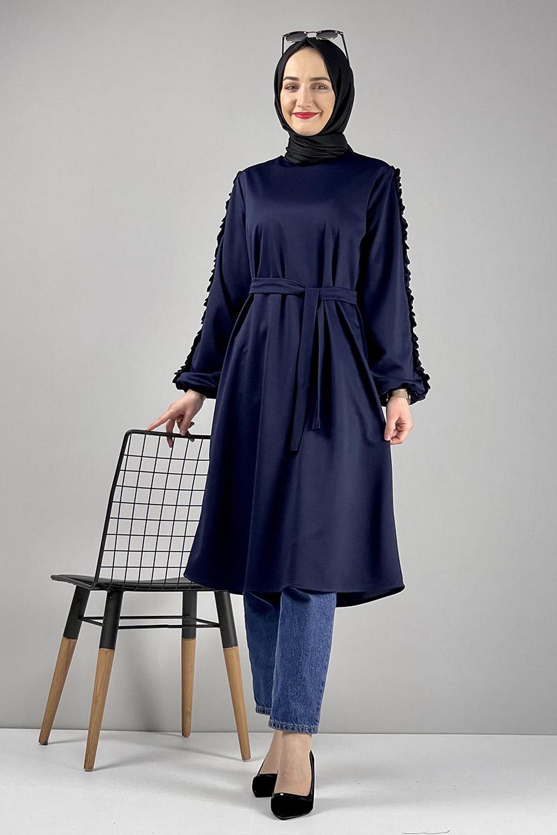 Moda Pinhan - Kol Detaylı Tesettür Tunik Lacivert (1)