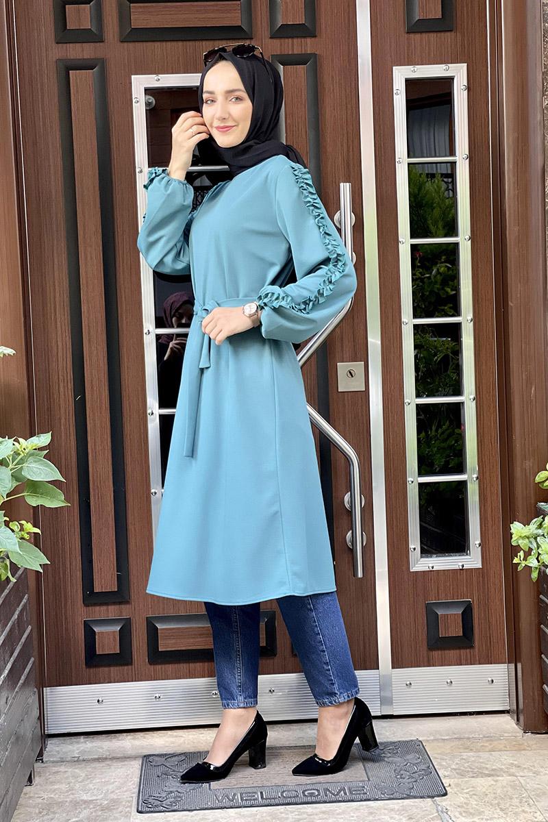 Moda Pinhan - Kol Detaylı Tesettür Tunik Petrol (1)