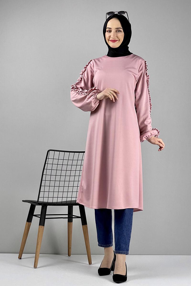 Moda Pinhan - Kol Detaylı Tesettür Tunik Pudra (1)