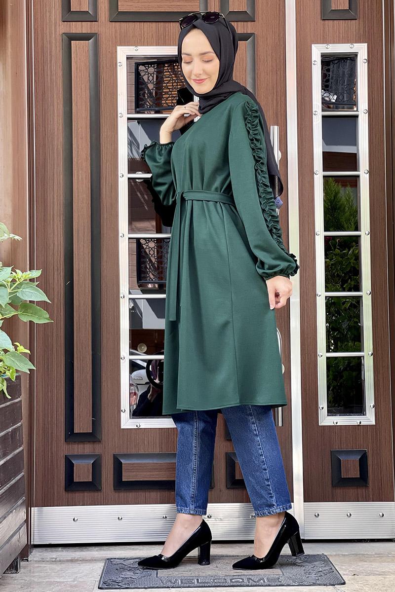 Moda Pinhan - Kol Detaylı Tesettür Tunik Zümrüt (1)