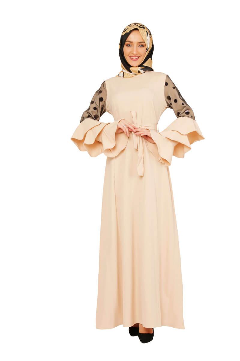 Mis Zemzem - Kolları Pul Detaylı Fırfırlı Elbise Vizon