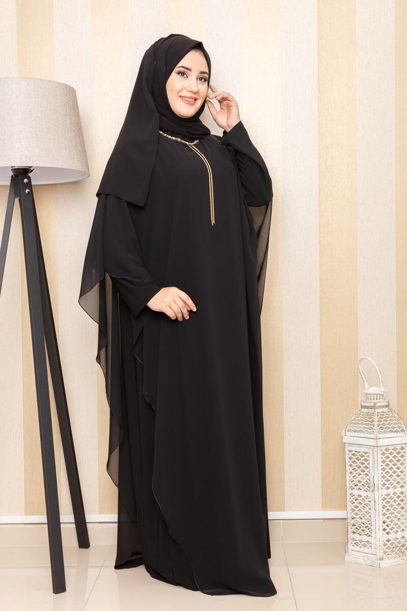 Moda Pinhan - Kolye Detaylı Abiye Siyah (1)