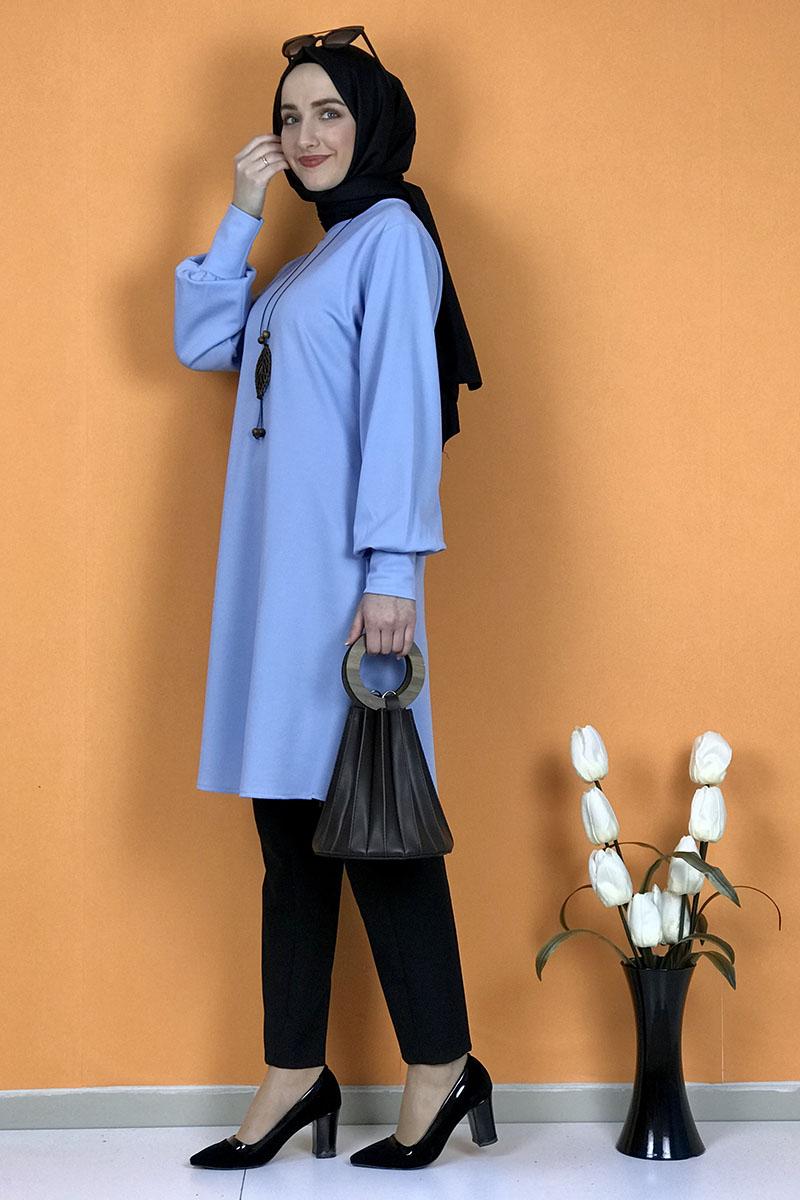 Moda Pinhan - Kolye Detaylı Tesettür Tunik Bebe Mavisi (1)