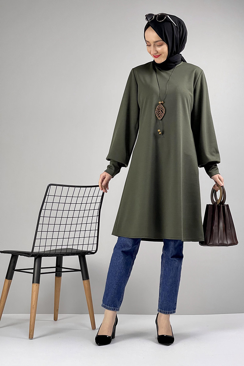 Moda Pinhan - Kolye Detaylı Tesettür Tunik Haki (1)