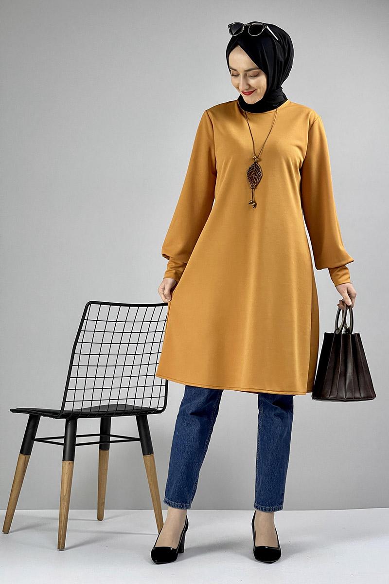 Moda Pinhan - Kolye Detaylı Tesettür Tunik Hardal (1)