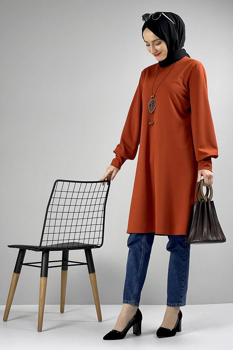Moda Pinhan - Kolye Detaylı Tesettür Tunik Kiremit (1)
