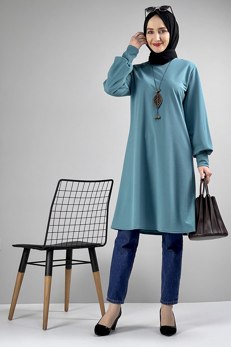 Moda Pinhan - Kolye Detaylı Tesettür Tunik Petrol Mavisi (1)