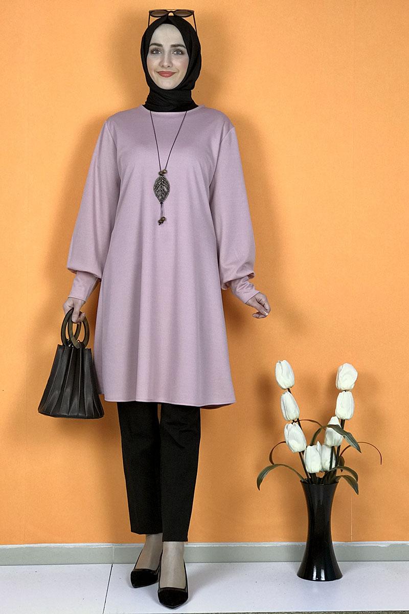 Moda Pinhan - Kolye Detaylı Tesettür Tunik Pudra (1)