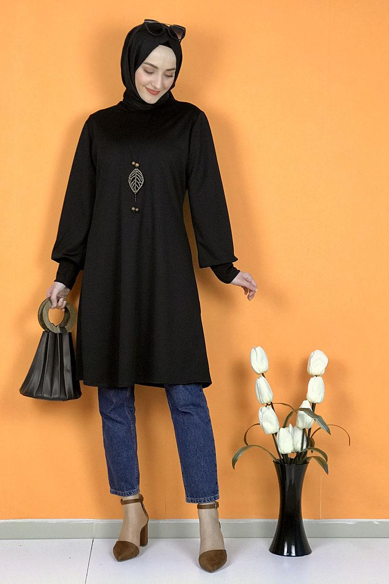 Moda Pinhan - Kolye Detaylı Tesettür Tunik Siyah (1)