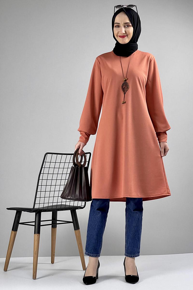 Moda Pinhan - Kolye Detaylı Tesettür Tunik Somon (1)
