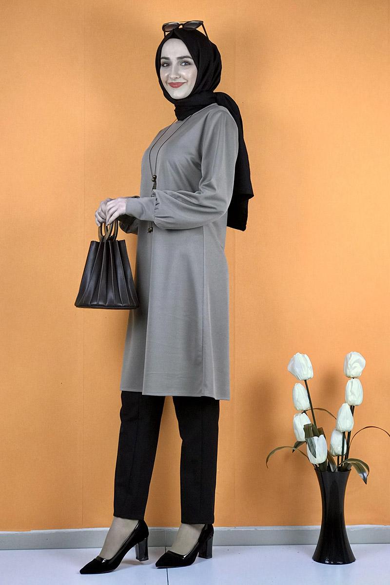 Moda Pinhan - Kolye Detaylı Tesettür Tunik Vizon (1)