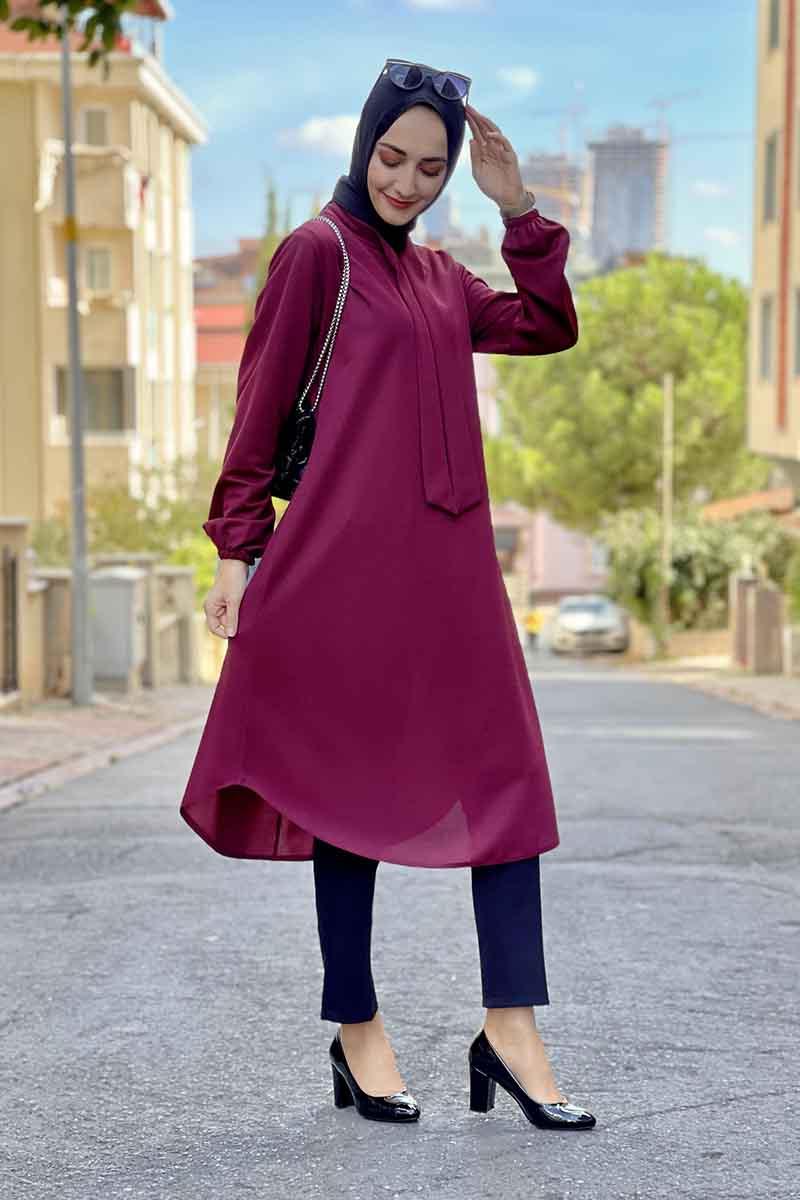 Moda Pinhan - Kravat Yaka Tunik Bordo (1)