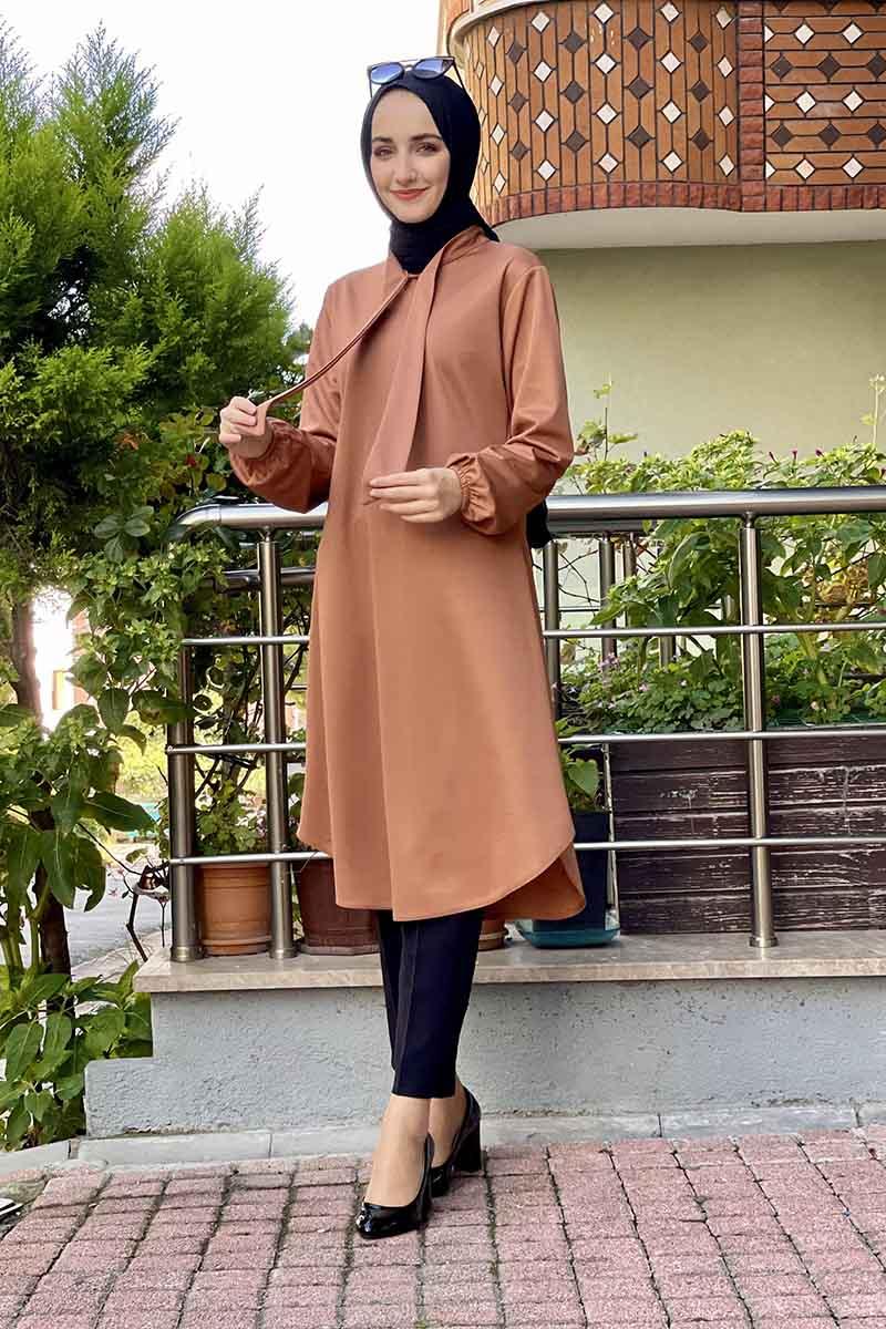Moda Pinhan - Kravat Yaka Tunik Camel (1)