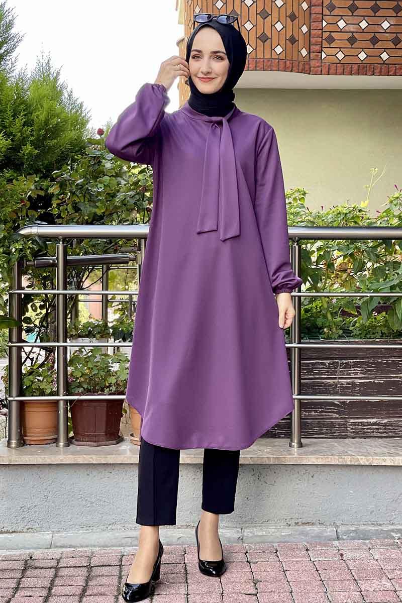 Moda Pinhan - Kravat Yaka Tunik Lila (1)