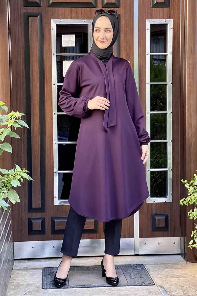 Moda Pinhan - Kravat Yaka Tunik Mor (1)