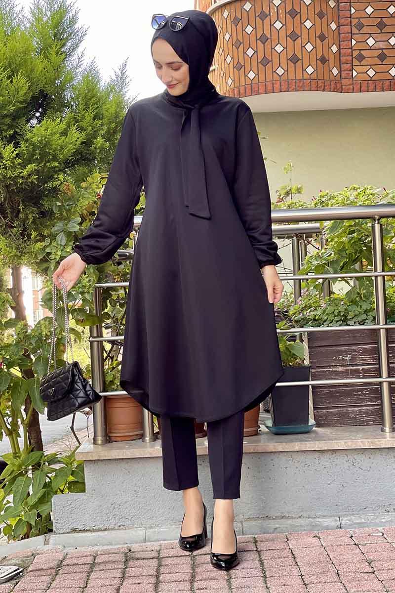 Moda Pinhan - Kravat Yaka Tunik Siyah (1)
