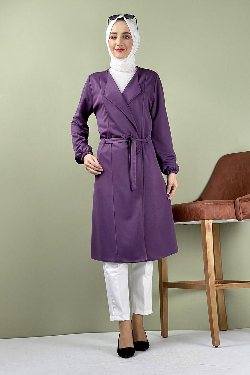 Moda Pinhan - Kuşak Detaylı Kimono Mor (1)