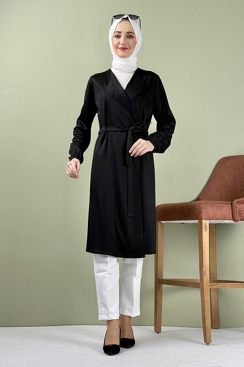 Moda Pinhan - Kuşak Detaylı Kimono Siyah (1)