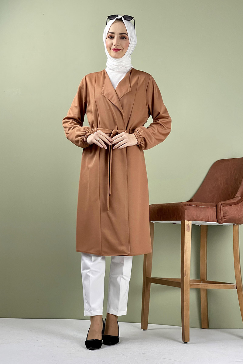 Moda Pinhan - Kuşak Detaylı Kimono Taba (1)