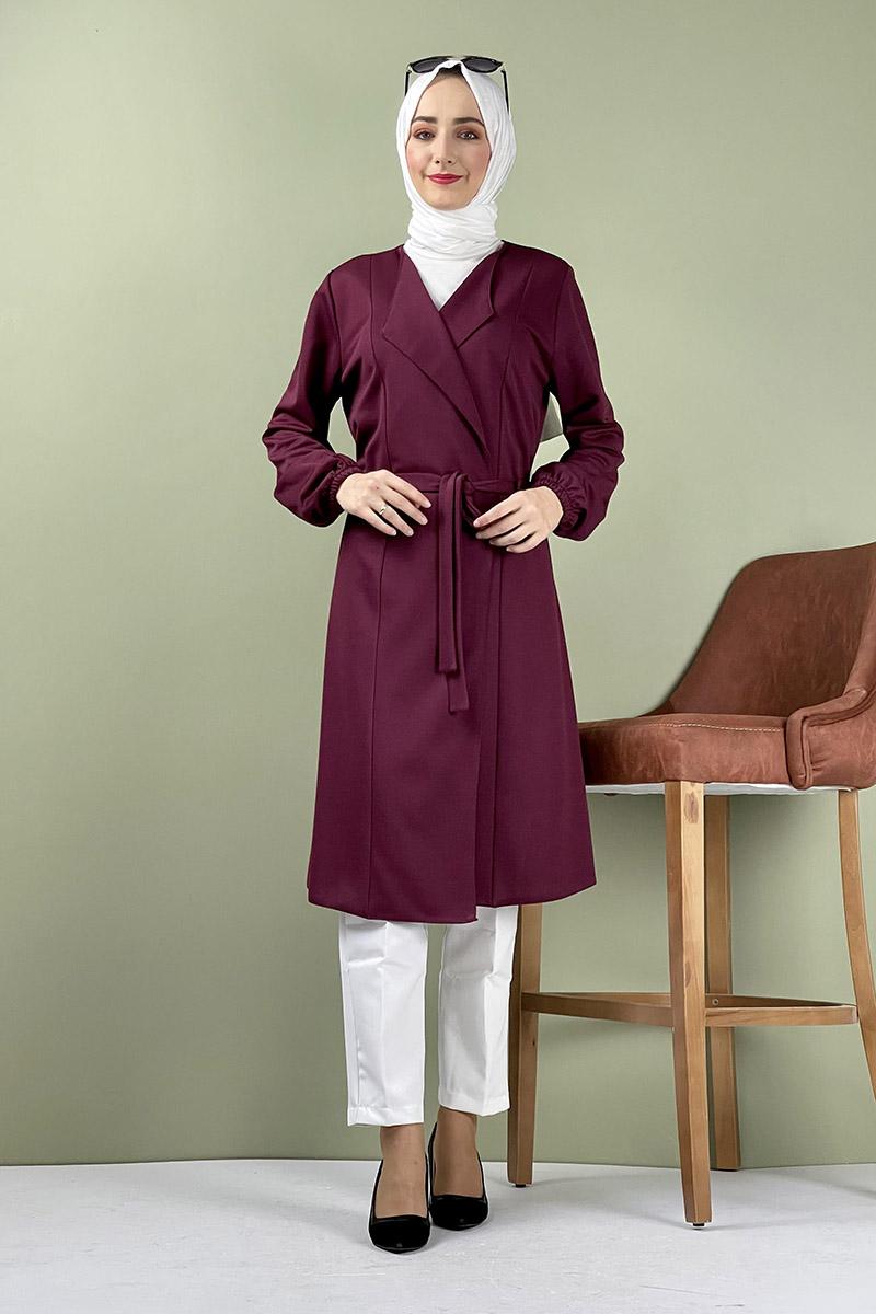 Moda Pinhan - Kuşak Detaylı Kimono Vişne (1)