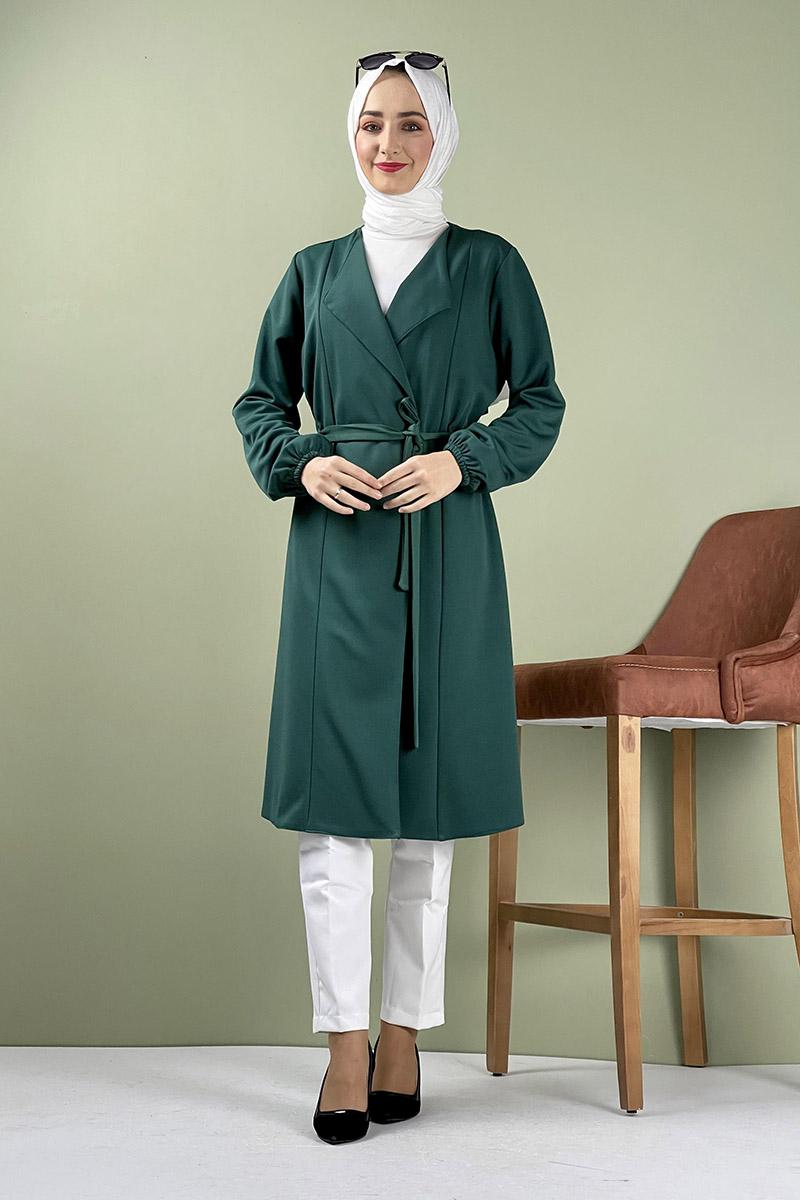 Moda Pinhan - Kuşak Detaylı Kimono Zümrüt (1)