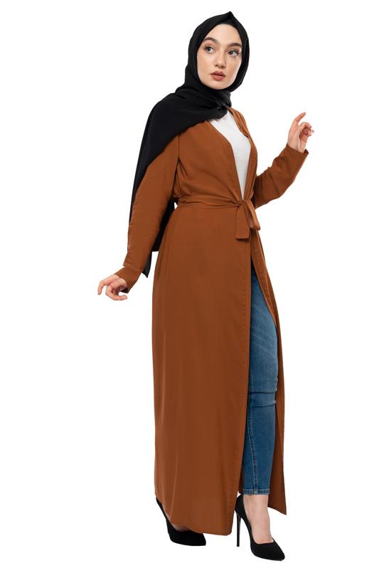 Moda Pinhan - Kuşaklı Mevsimlik Abaya Tütün (1)