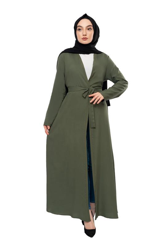 Moda Pinhan - Kuşaklı Mevsimlik Abaya Haki (1)