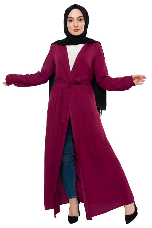 Moda Pinhan - Kuşaklık Mevsimlik Abaya Mürdüm (1)