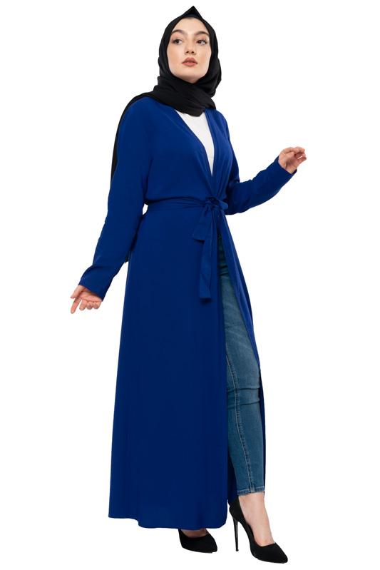 Moda Pinhan - Kuşaklı Mevsimlik Abaya Saks Mavisi (1)