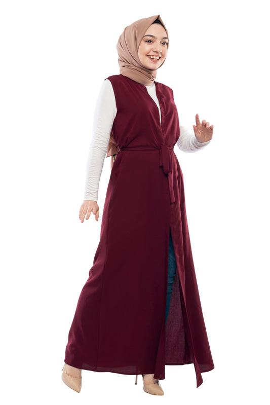 Moda Pinhan - Kuşaklı Yelek Bordo (1)