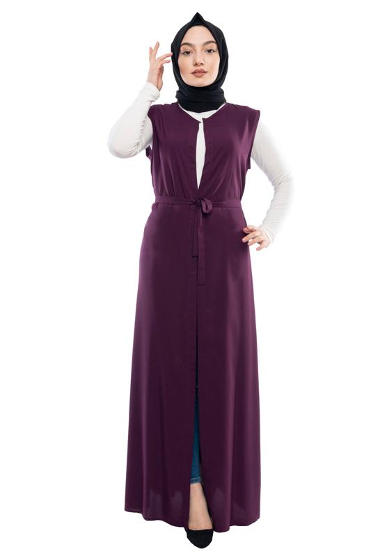 Moda Pinhan - Kuşaklı Yelek Mor (1)