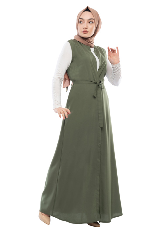 Moda Pinhan - Kuşaklı Yelek Yeşil (1)