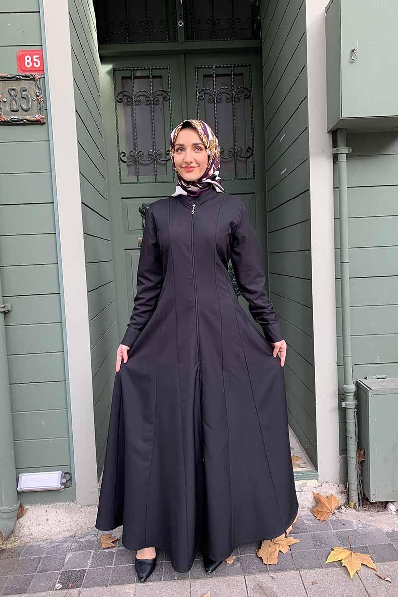 Moda Pinhan - Manşeti Düğmeli Ferace Siyah (1)