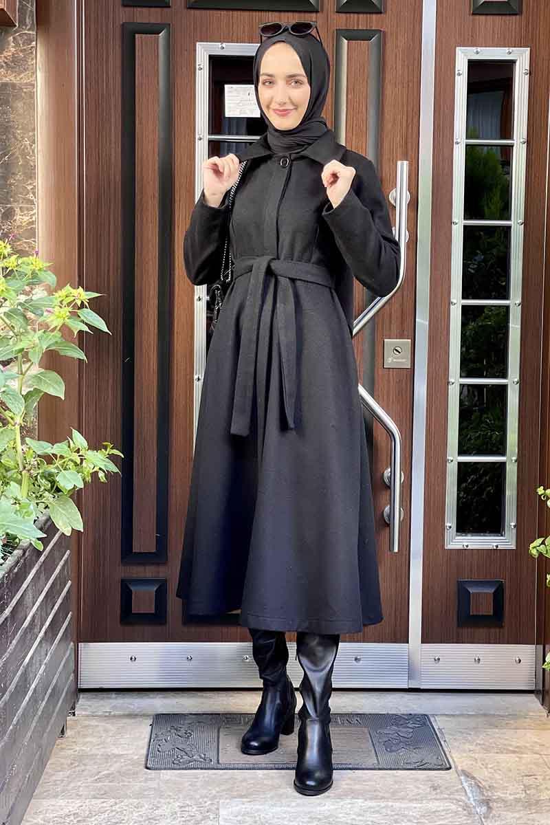 Moda Pinhan - Mevlana Kaşe Kaban Siyah (1)
