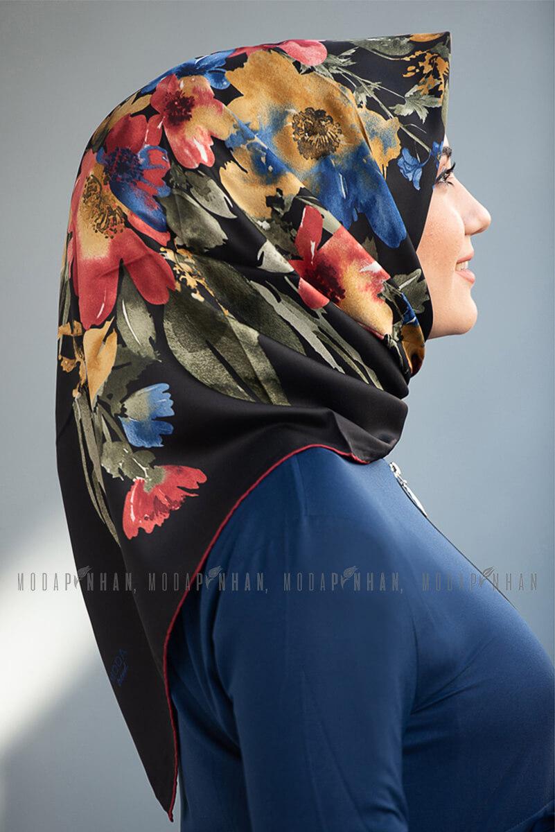 Moda Trend Çiçek Desenli Eşarp Siyah