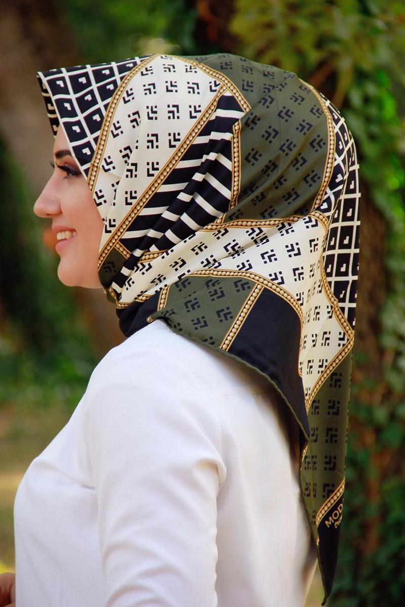 Moda Pinhan - Moda Trend Desenli Eşarp Haki Yeşili (1)