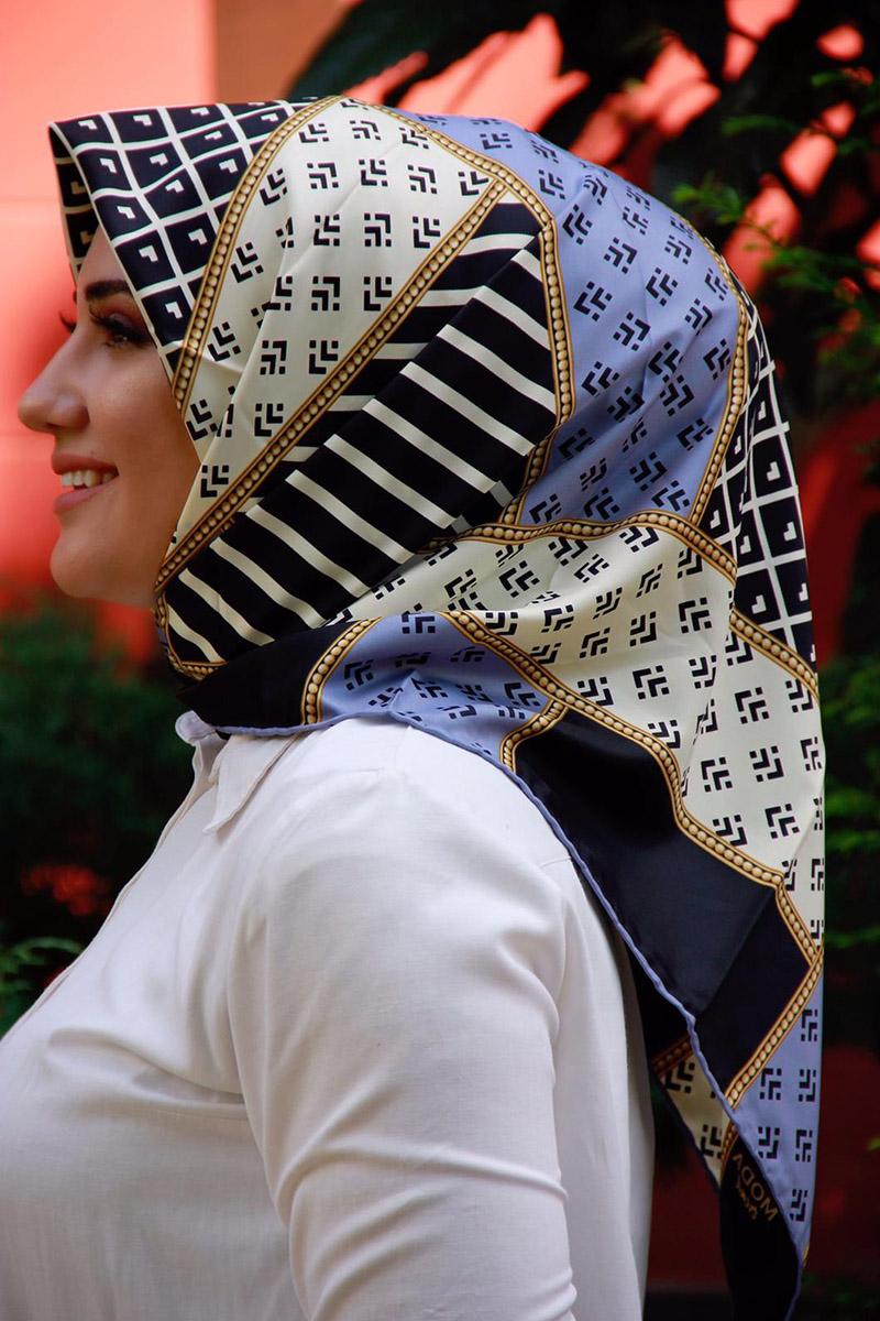 Moda Pinhan - Moda Trend Desenli Eşarp İndigo (1)