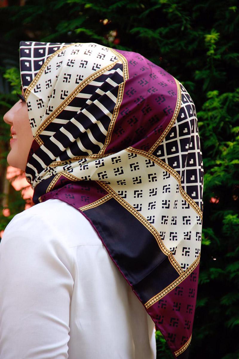 Moda Pinhan - Moda Trend Desenli Eşarp Mürdüm (1)