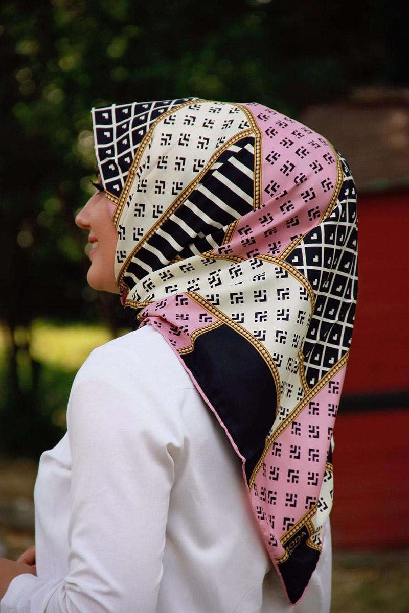 Moda Pinhan - Moda Trend Desenli Eşarp Pembe (1)