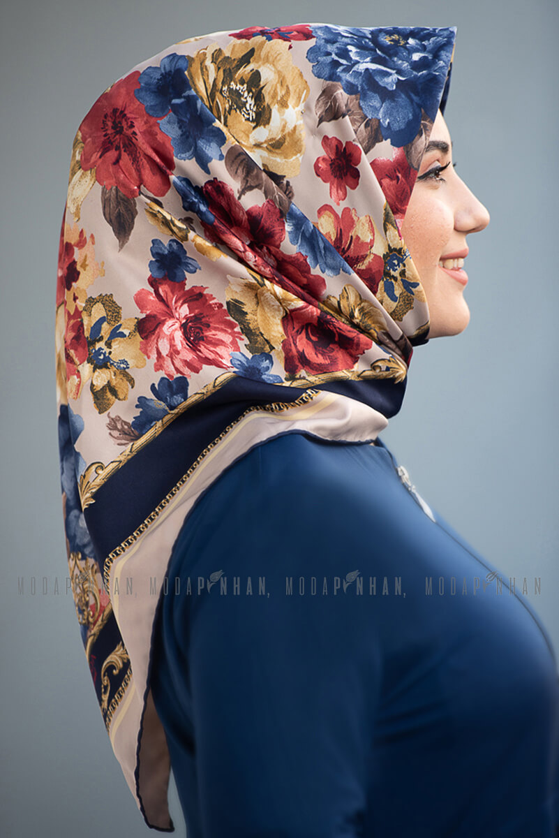 Moda Pinhan - Moda Trend Şeritli Çiçek Desenli Eşarp Lacivert