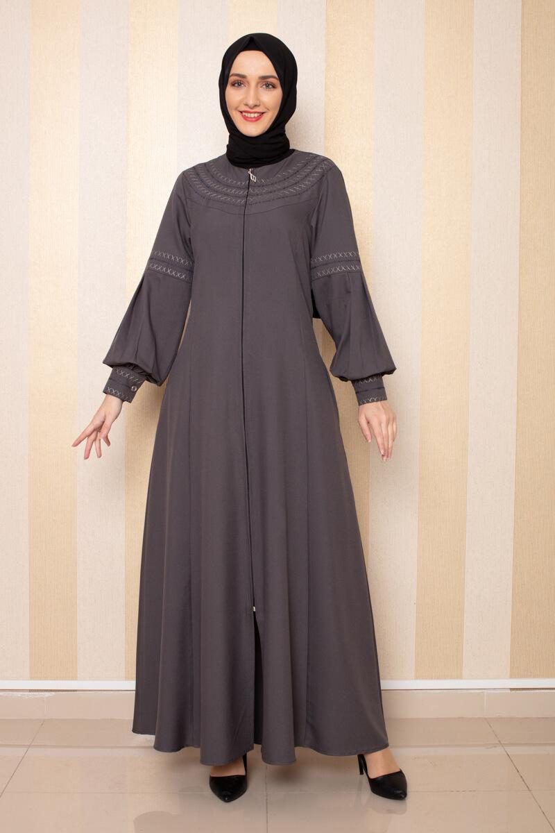 Moda Pinhan - Nakış Detaylı Ferace Antrasit (1)