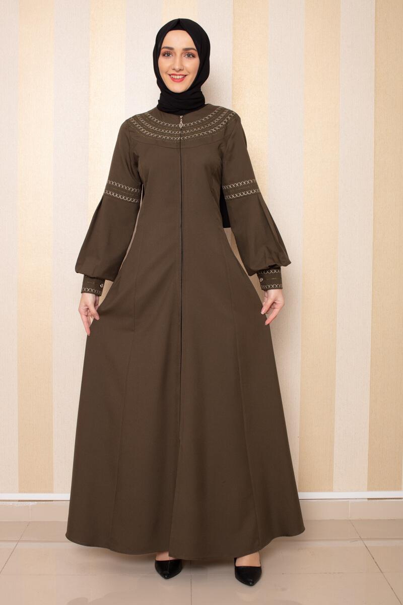 Moda Pinhan - Nakış Detaylı Ferace Haki (1)