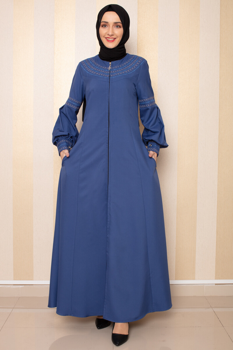 Moda Pinhan - Nakış Detaylı Ferace İndigo (1)