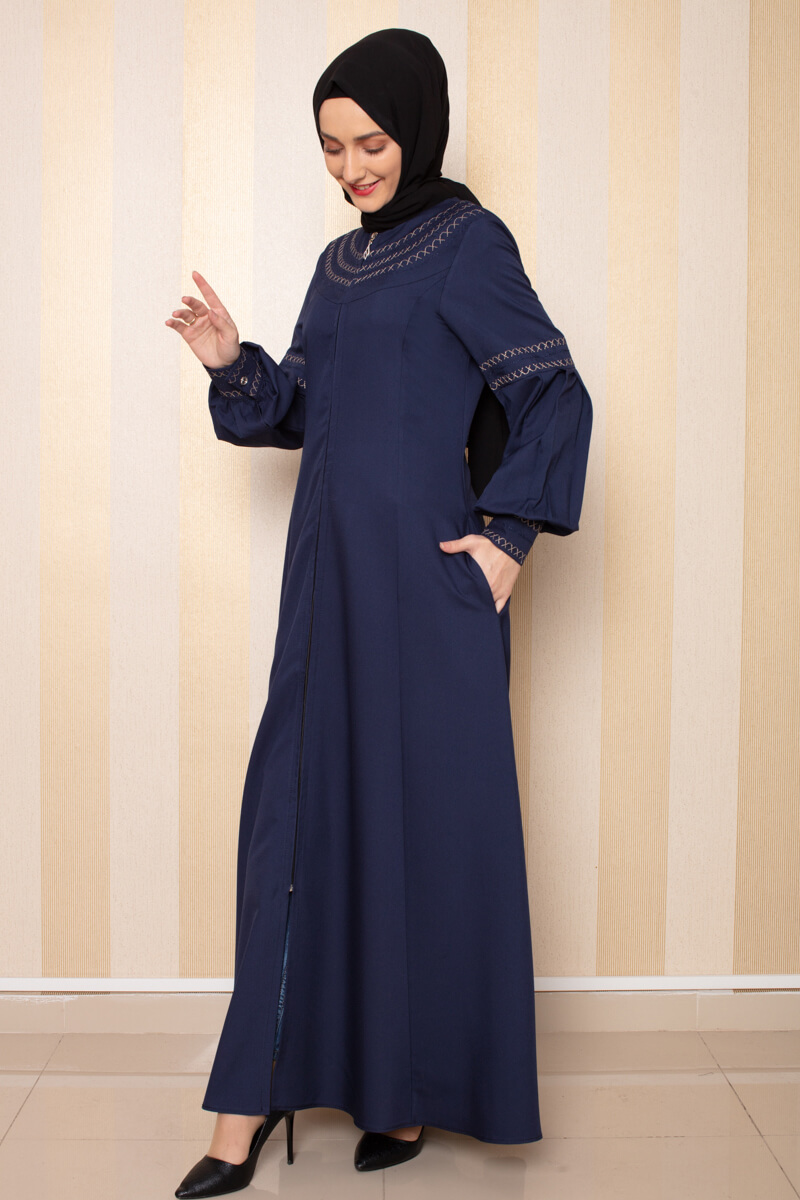 Moda Pinhan - Nakış Detaylı Ferace Lacivert (1)