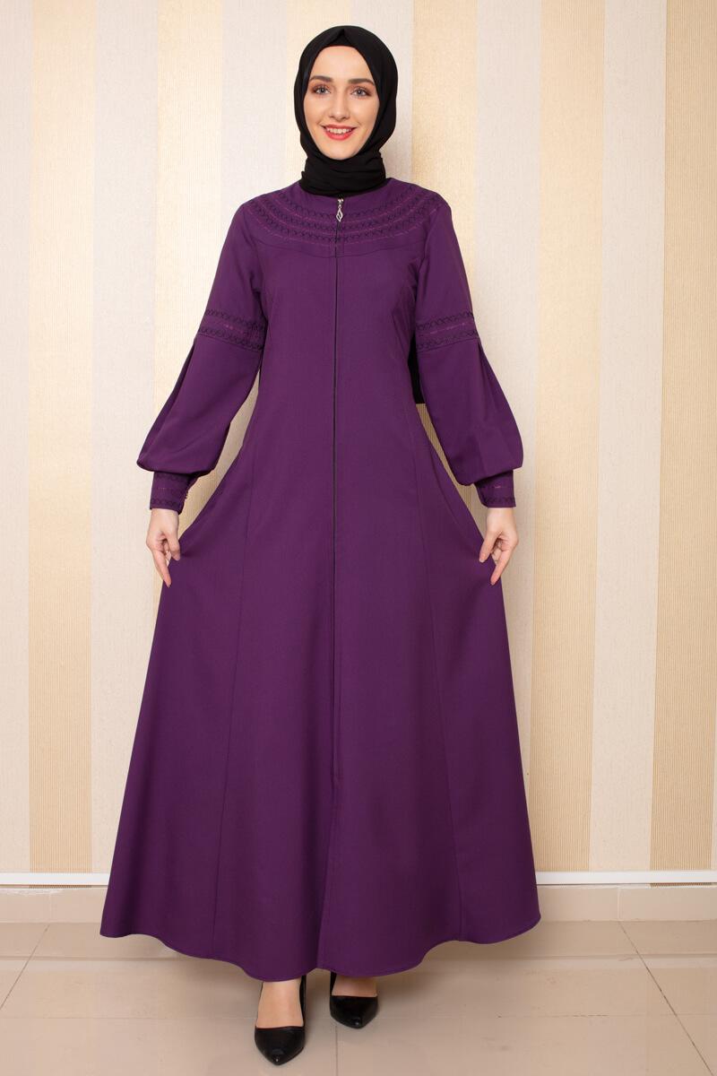 Moda Pinhan - Nakış Detaylı Ferace Mor (1)