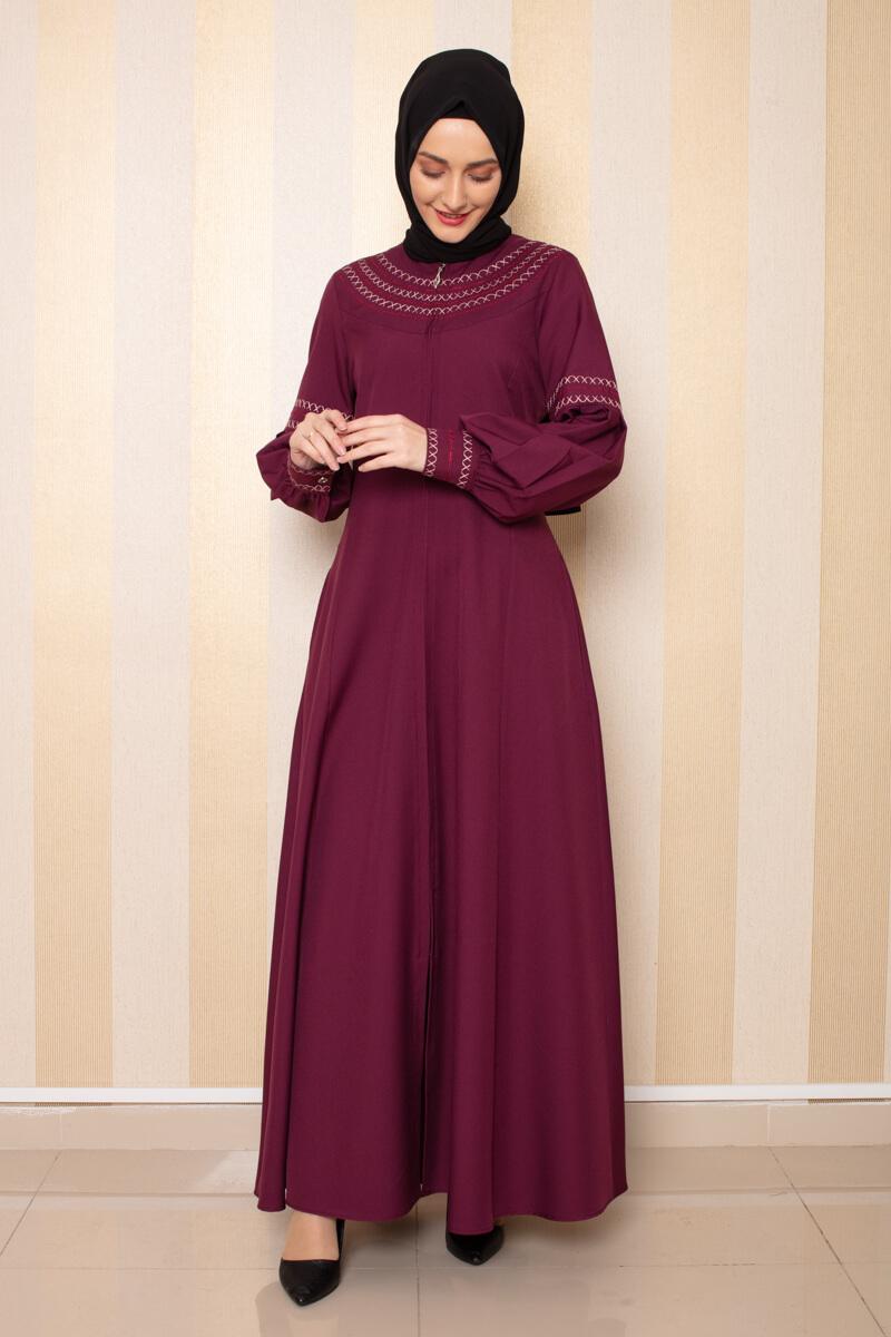 Moda Pinhan - Nakış Detaylı Ferace Mürdüm (1)
