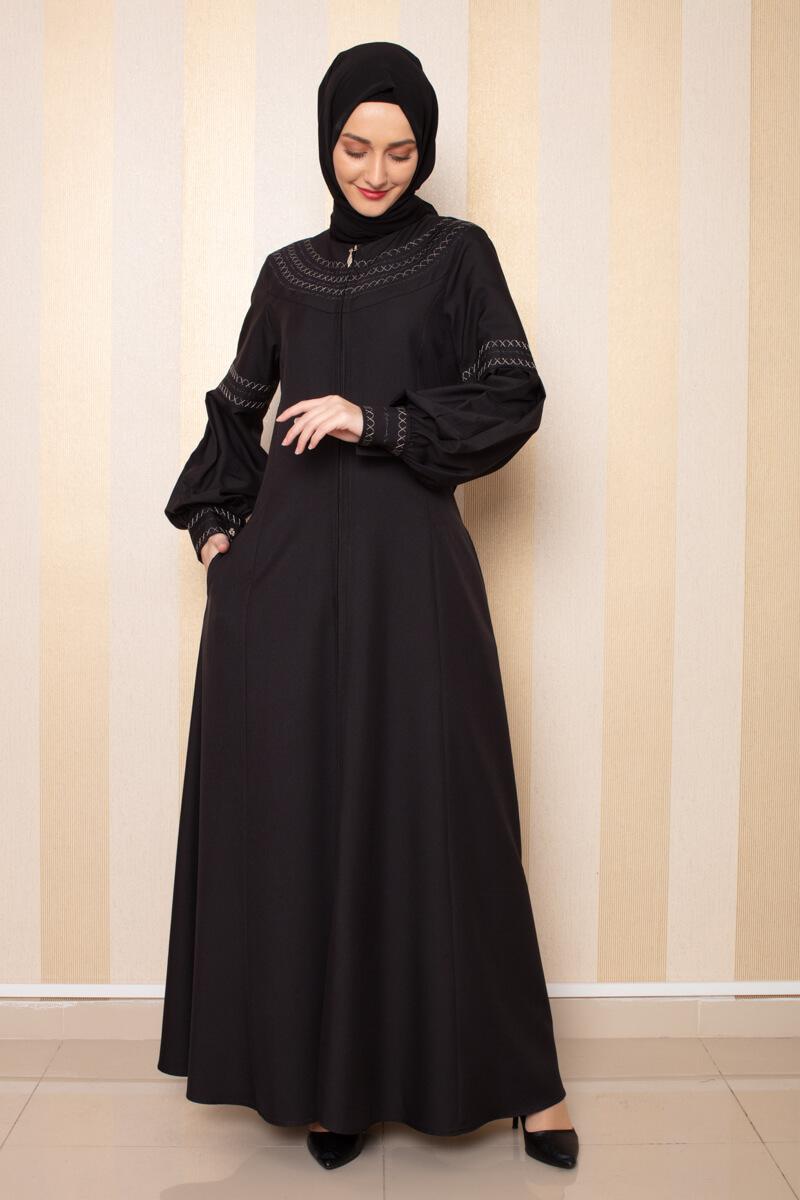 Moda Pinhan - Nakış Detaylı Ferace Siyah (1)