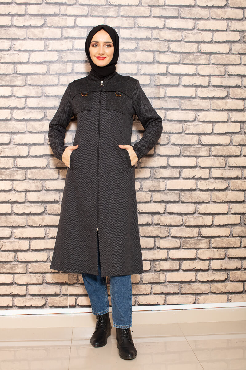 Moda Pinhan - Omuzu Parçalı Antrasit Tesettür Kap (1)