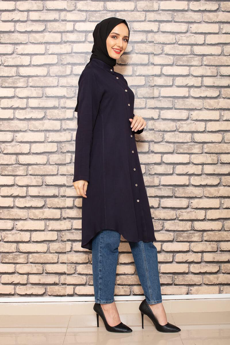 Moda Pinhan - Önden Düğmeli Tesettür Tunik Lacivert (1)